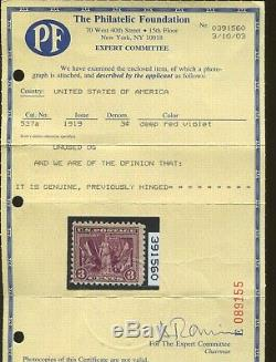 1919 US 3 Cent Postage Stamp #537a Mint Hinged F/VF Original Gum Certified