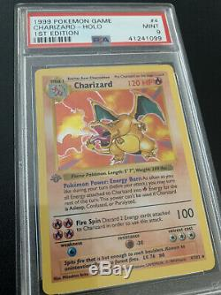 1999 Base Set 1st Edition Charizard 4/102 Holo PSA 9 MINT Thin Grey Stamp CLEAN