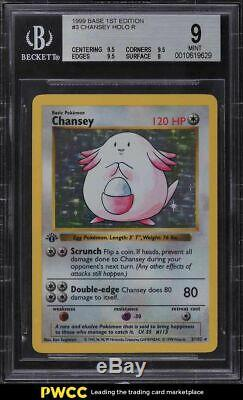 1999 Pokemon Base 1st Edition Thick Stamp Holo Chansey #3 BGS 9 MINT