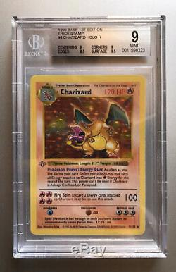 BGS 9 MINT Pokemon Charizard 1st Edition Base Holo Shadowless Thick Stamp PSA