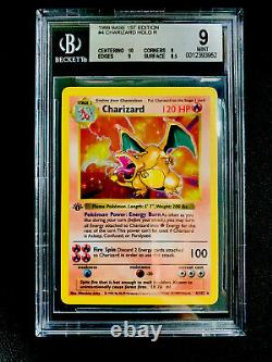 BGS 9 Mint 1st Edition Base Set Shadowless Charizard Holo THICK Stamp
