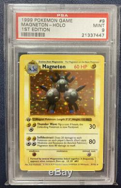 Base Set 1st Edition Magneton Holo 9/102 PSA 9 Mint Thick Stamp First Ed Pokemon