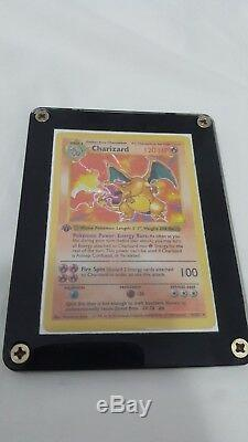 Charizard 1st edition base set near mint thin stamp shadowless