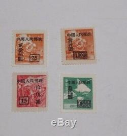 China Stamp Collection 1940's railway train airplane Overstamped Unused LOT 4