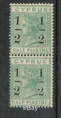 Cyprus #26 (SG #29) Mint Fine Vertical Pair Bottom Stamp Never Hinged