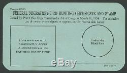 Form 3333 Federal Duck Stamp Hunting Certificate Rare Mint Card Xf+ Wlm6209
