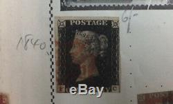 GB 1840 SG2 1d Penny Black Lettered GI Red MX With Four Stamp Albums. Family Lot
