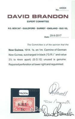 German Colonies NEW BRITAIN G. R. I. NEW GUINEA 1sh/1mk Sc# 12 mint MH withcert RR