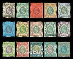 HONG KONG (china) 1903 KEVII wmk crown CA complete set Scott# 71-85 mint MH