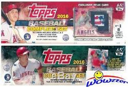 Lot (2) Mike Trout 2016 Topps Baseball Factory Sets-Stamp Relic+Chrome Refractor