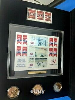 NHL Rare Montreal Canadiens / Canada Mint Coin Stamp Banner Centennial Set