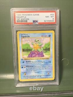 PSA 8 Squirtle 1st Edition Shadowless Base Set Pokemon Mint Thick Grey Stamp