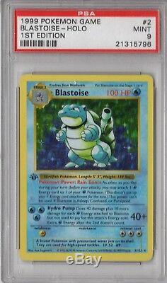 PSA 9 BLASTOISE 1999 Pokemon 1st Edition THICK STAMP #2/102 Holo Shadowless MINT