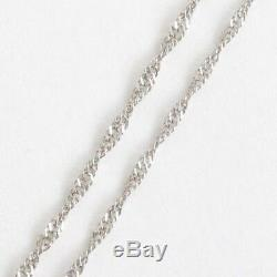 Pt999 Solid Platinum 2.3g Tapered Screw Chain Necklace 17.75 Japan Mint Stamp