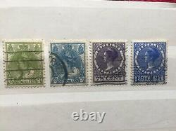 Rare Netherlands Queen Wilhelmina lot of 4 Used Stamps 1899, 1901, 1927, 1934