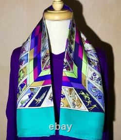 SALE! HERMES CORRESPONDENCE SILK SCARF By Caty Latham 90cm Turquoise Mint Cond