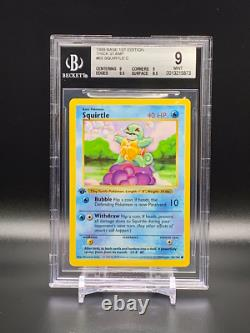 Squirtle 63/102 1999 Pokemon Base Set 1st Edition BGS 9 Mint (Thick Stamp)