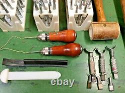 Vintage Lot Of Leatherworking Tools Craftool Stamps, Punches, Mallets, Knives