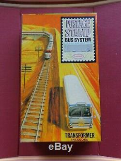Vintage New N-scale Aurora Postage Stamp Bus System Set Red Bus Mint New In Box