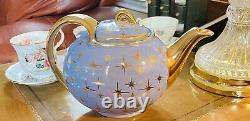 Vintage Retro Hall Star-cadet Blue Gold Stars Slip In Top Collector Teapot Mint